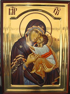 Icon of Theotokos by hands of Visoki Decani Monastery in Albania