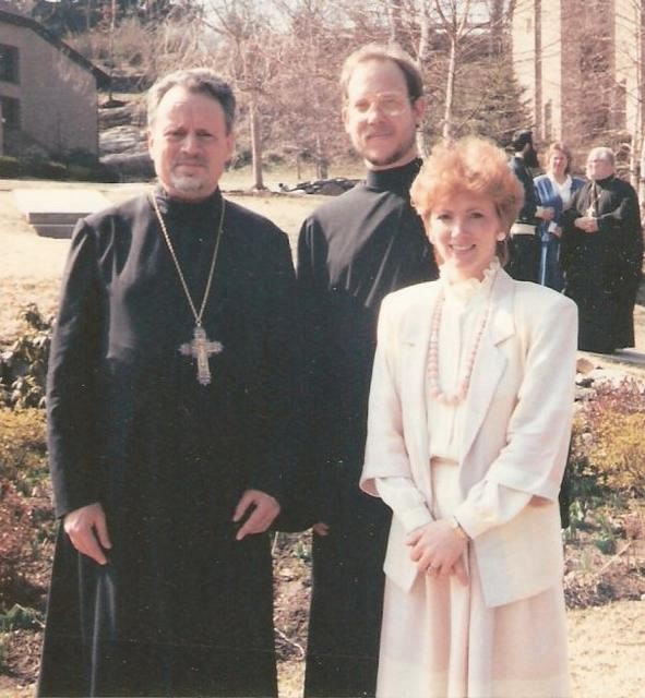 Fr John Meyendorff with the newly ordained Deacon Paul and his wife Nancy: March 25, 1988, outside Three Hierarchs Chapel at St. Vladimir's Seminary. Their Parish Priest, Fr Tom & Matushka are in the background.